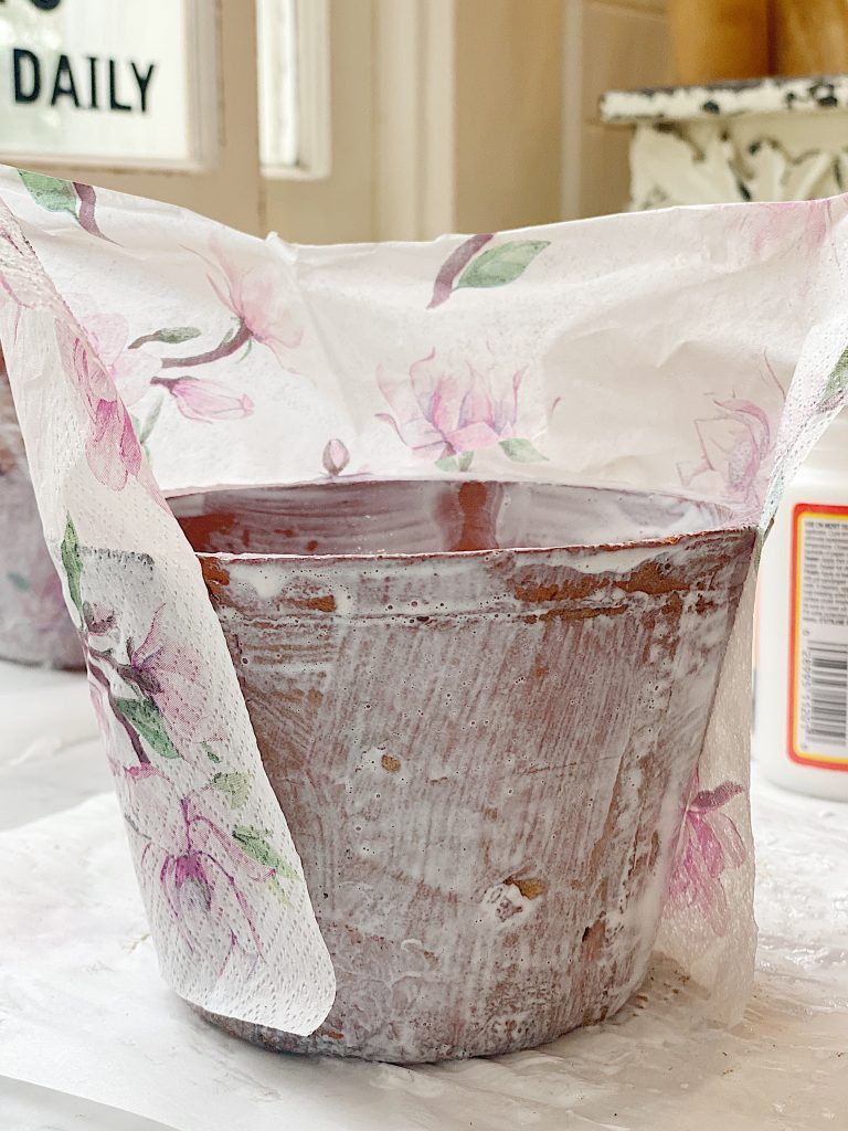 How to Decoupage Terra Cotta Pots