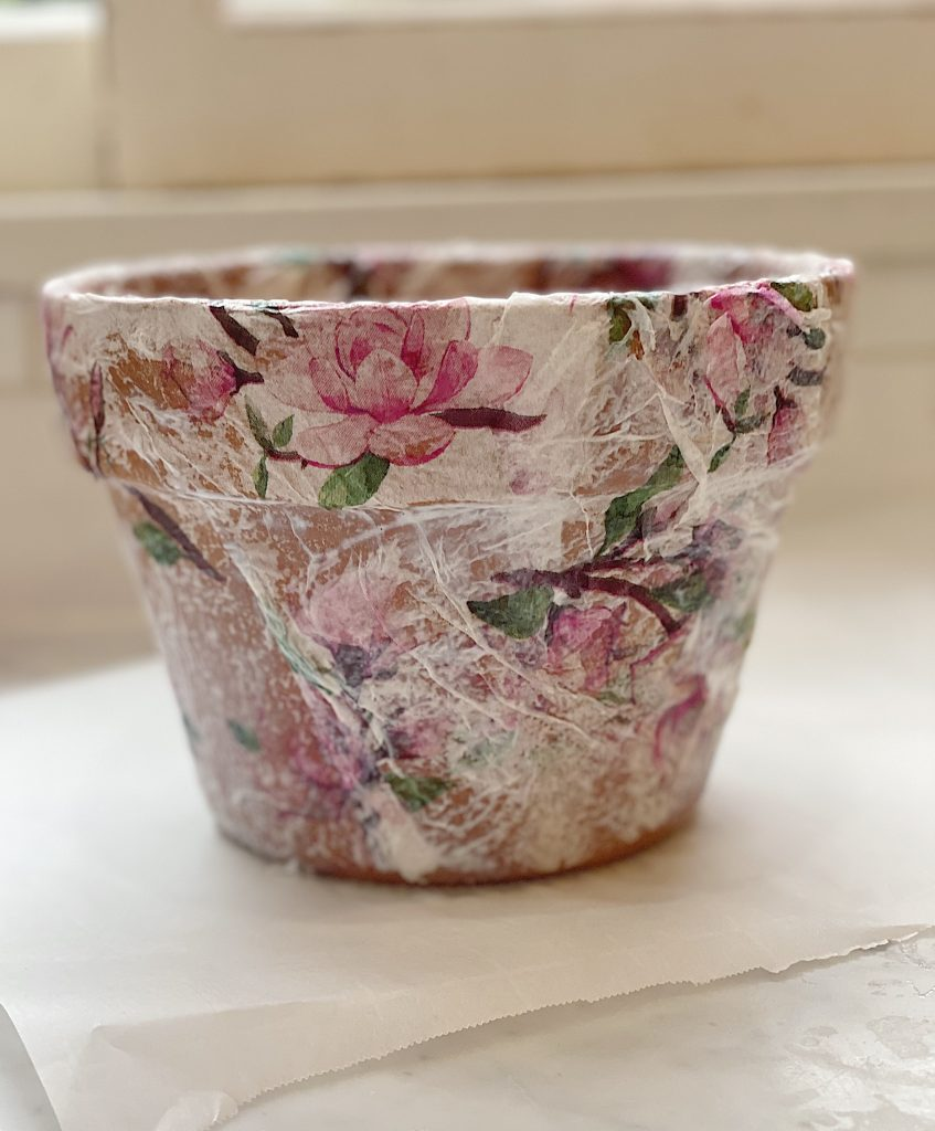 How to Decoupage Terra Cotta Pots DIY
