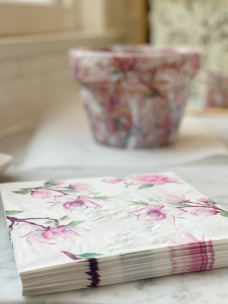 How to Decoupage Terra Cotta Pots with Paper Napkins