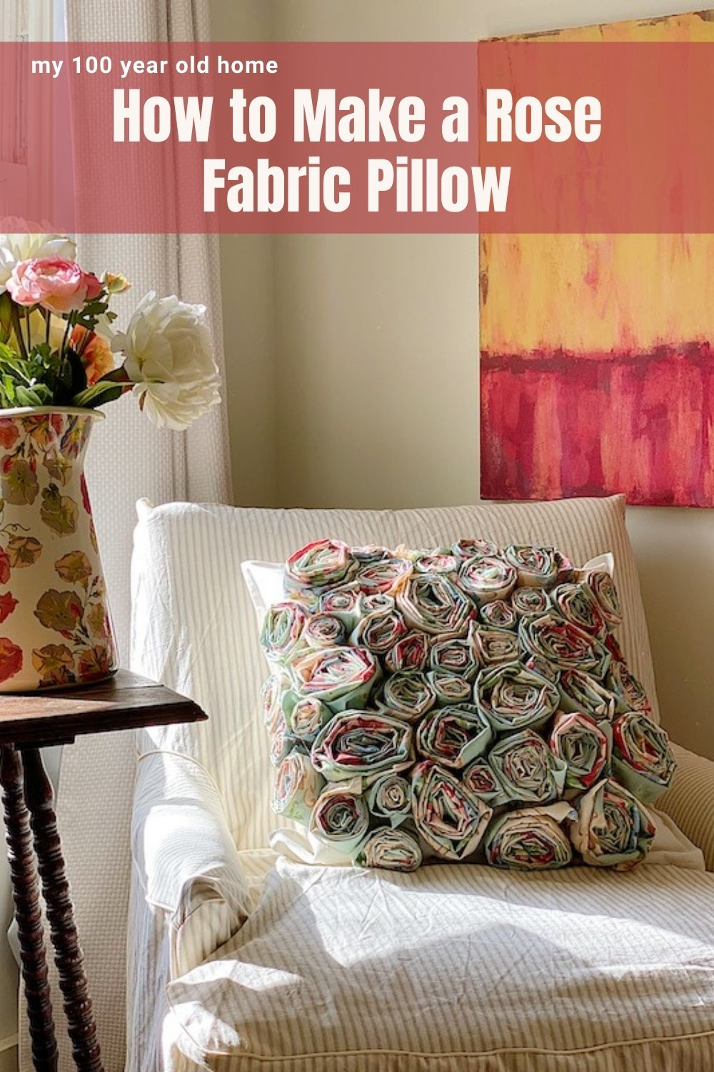 I am so excited how to share my latest flower craft. This is a no sew, torn fabric, easy flower craft pillow.