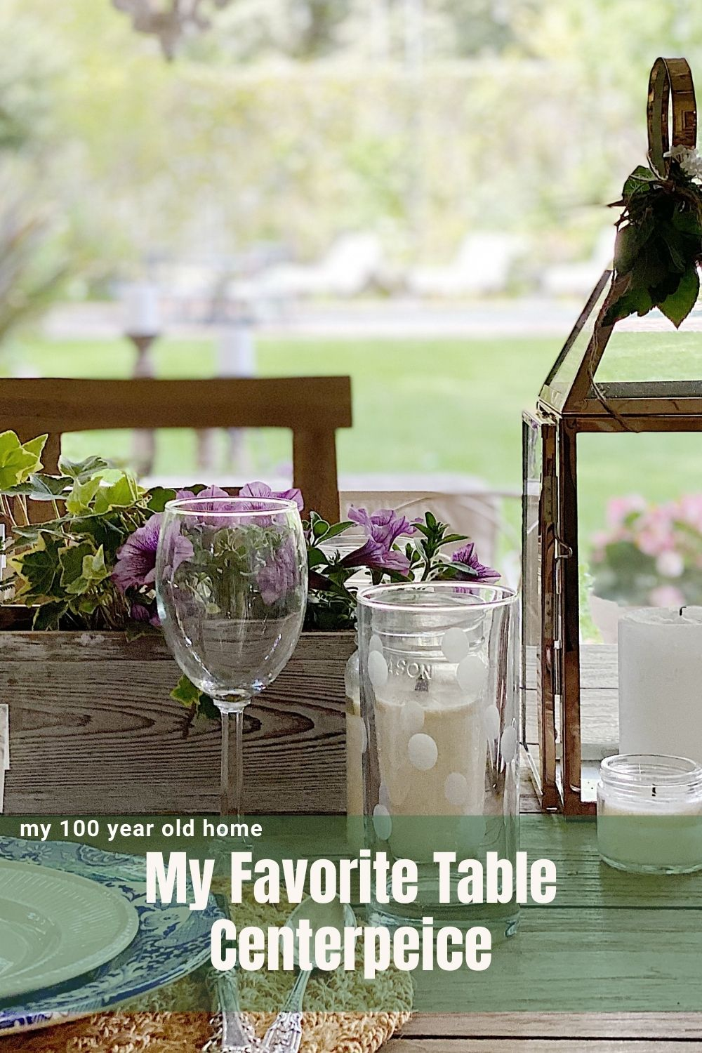 Outside dining happens a lot at our home and I love using a wooden planter box as centerpieces! This is one of my favorite table centerpieces because the are inexpensive since you can use them all summer.