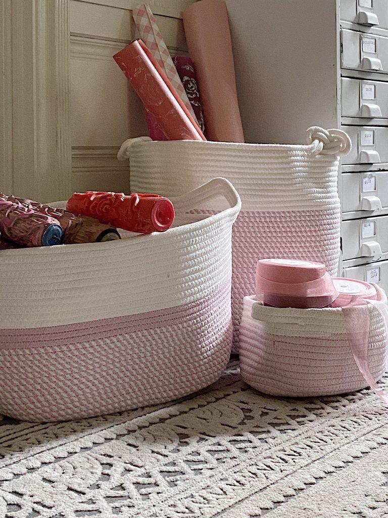 Pink Baskets in Craft Room Organization