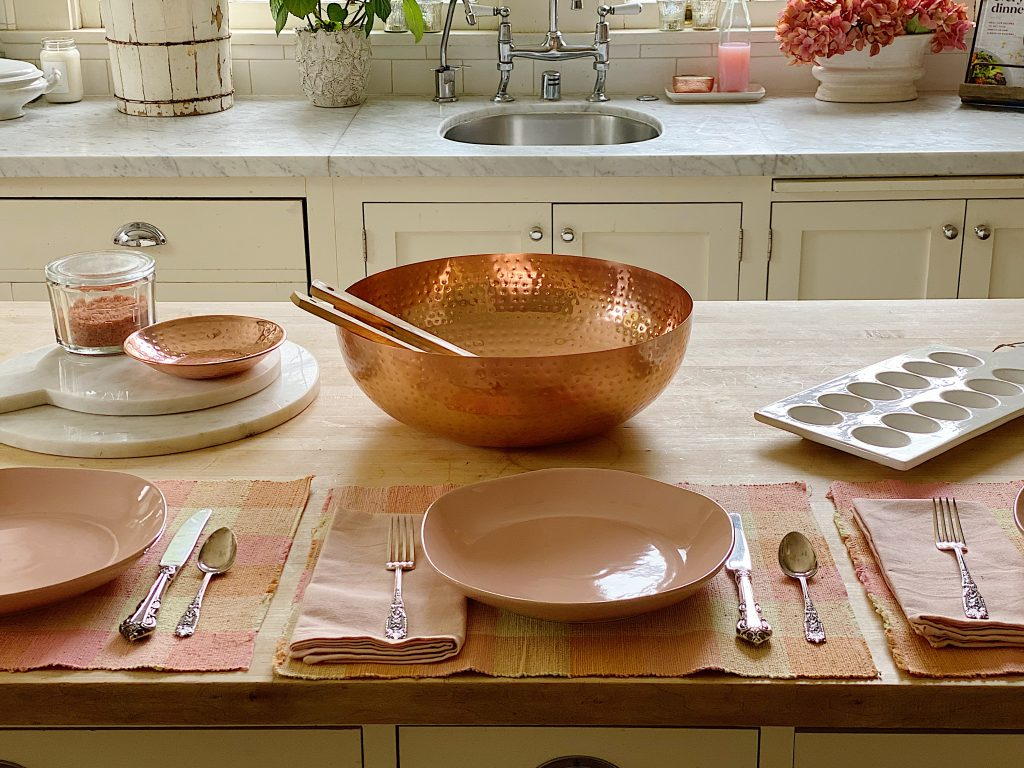 Pink Dinnerware and Copper