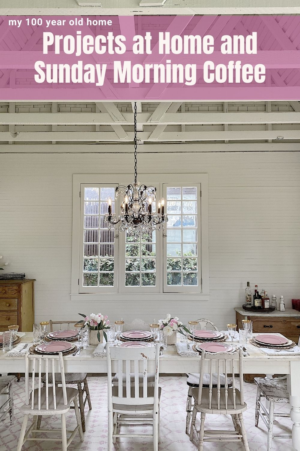Welcome to Sunday Morning Coffee. Today I am sharing my weekly thoughts about entertaining, decor, crafts, and all of our projects at home, including the remodel of the Carriage House!