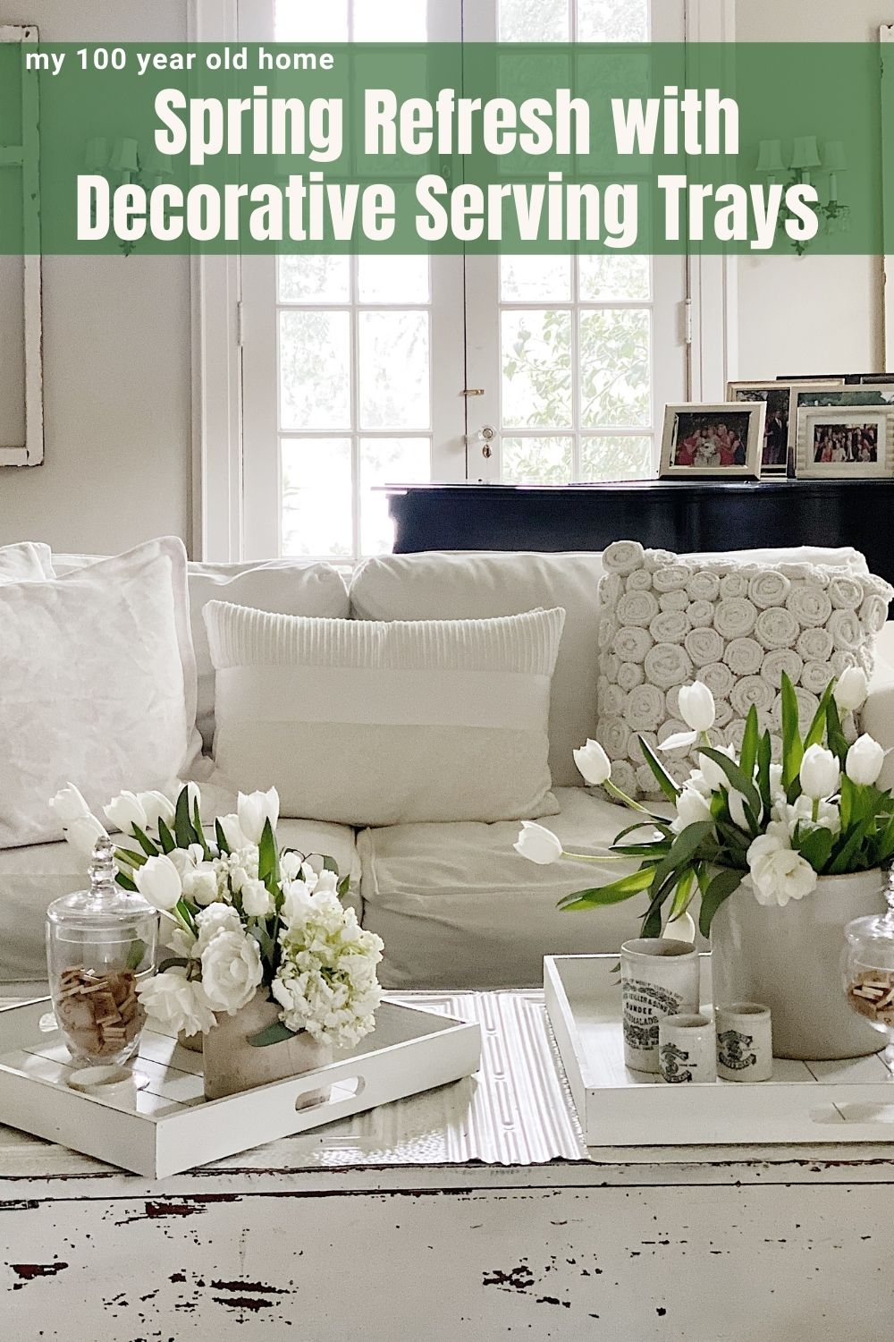 This week I have teamed up with my friend KariAnne at Thistlewood Farms. We are doing a Spring Refresh in five different rooms with one favorite new item in each room. Today I refreshed the Living Room with wood decorative serving trays.