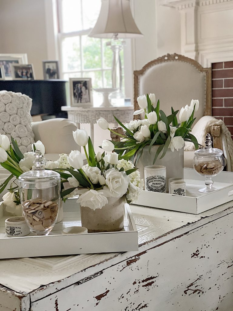 White Wood Serving Trays with Decor