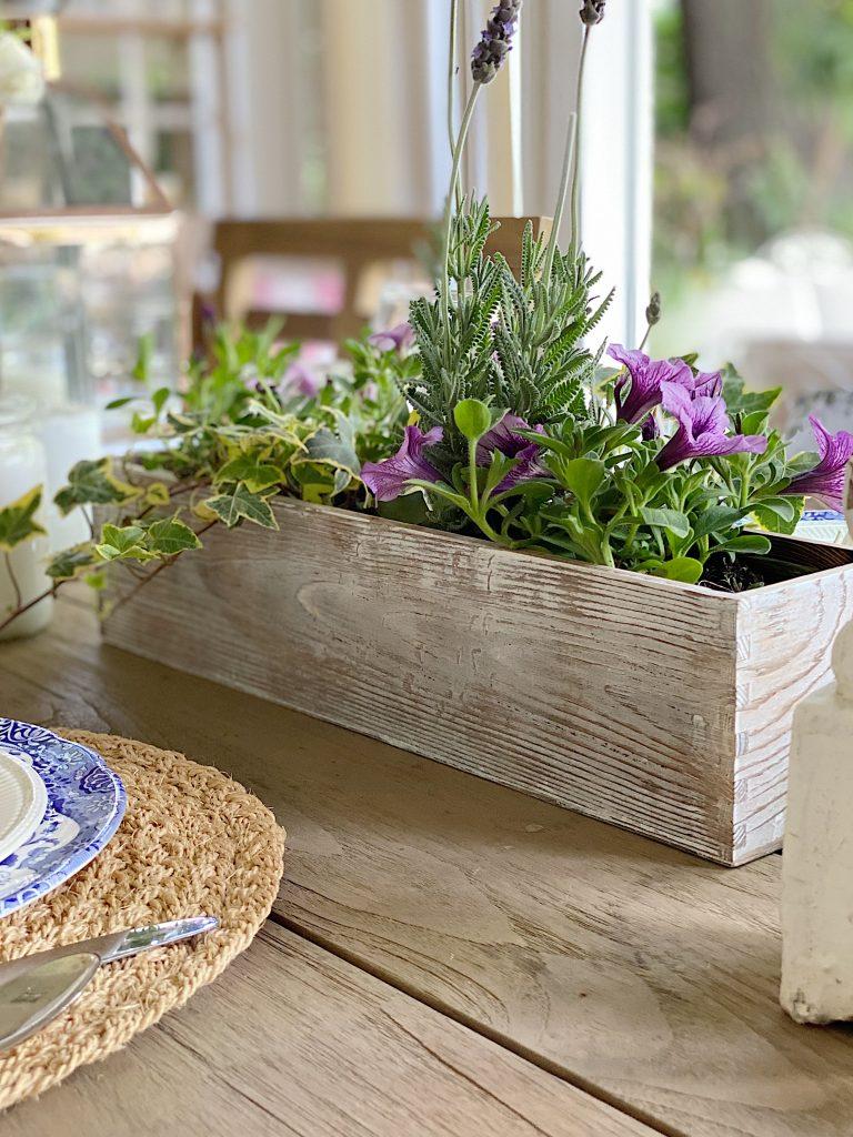 Wood Planter Box Table Centerpiece
