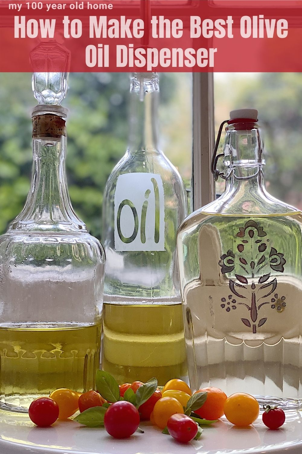 I love the vintage glass decanter I use as an olive oil dispenser. Today I shared three olive oil container bottles you can make using a recycled decanter, wine bottle, or syrup bottle.
