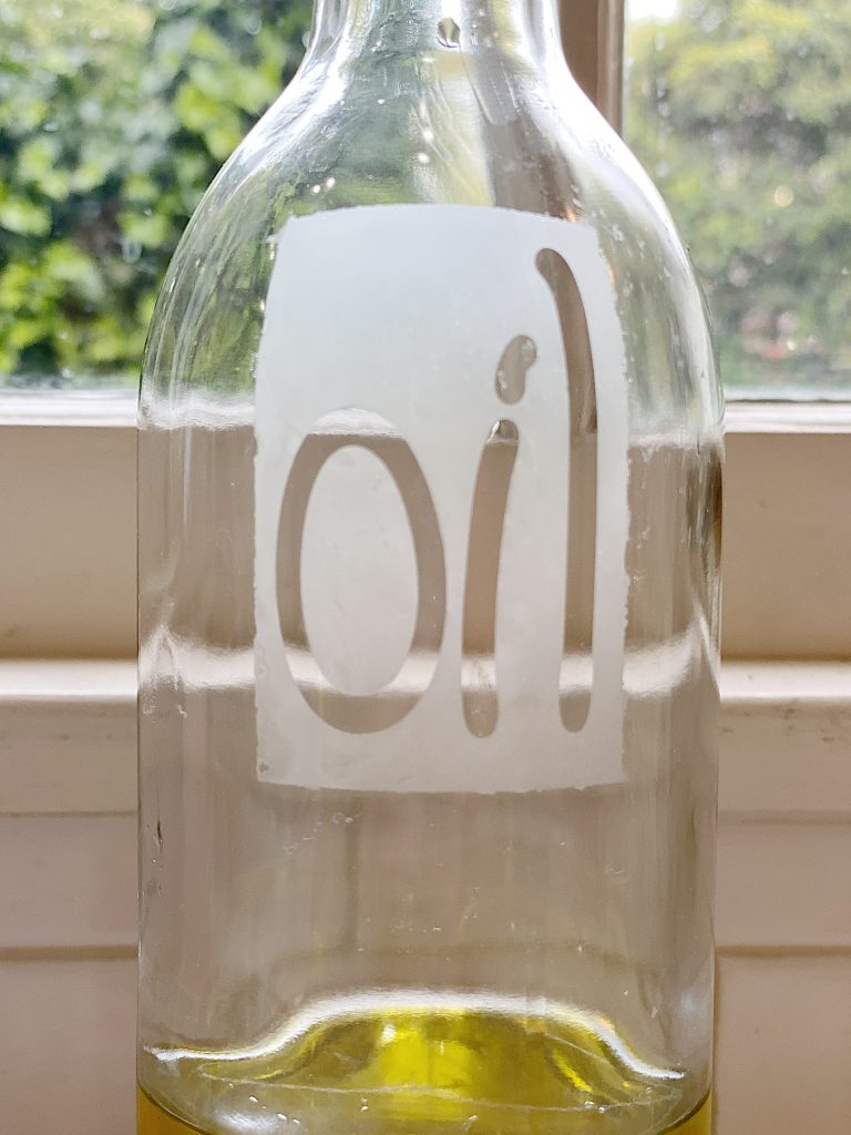 DIY Etched Olive Oil Container