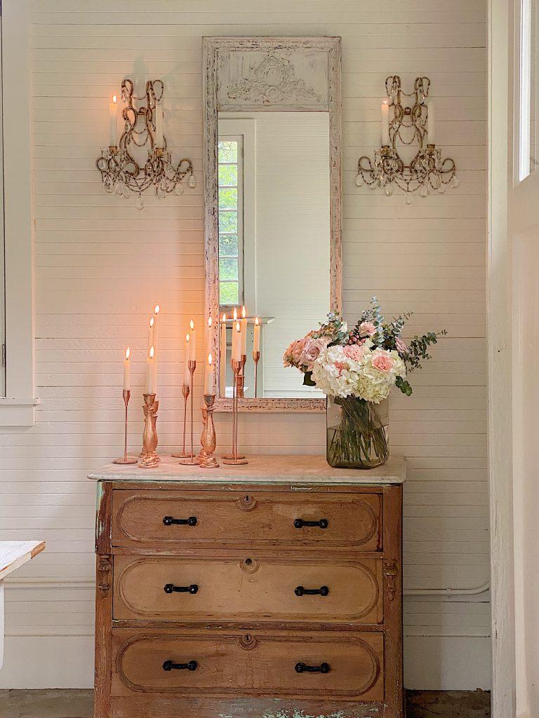 DIY Mirror with new Sconces