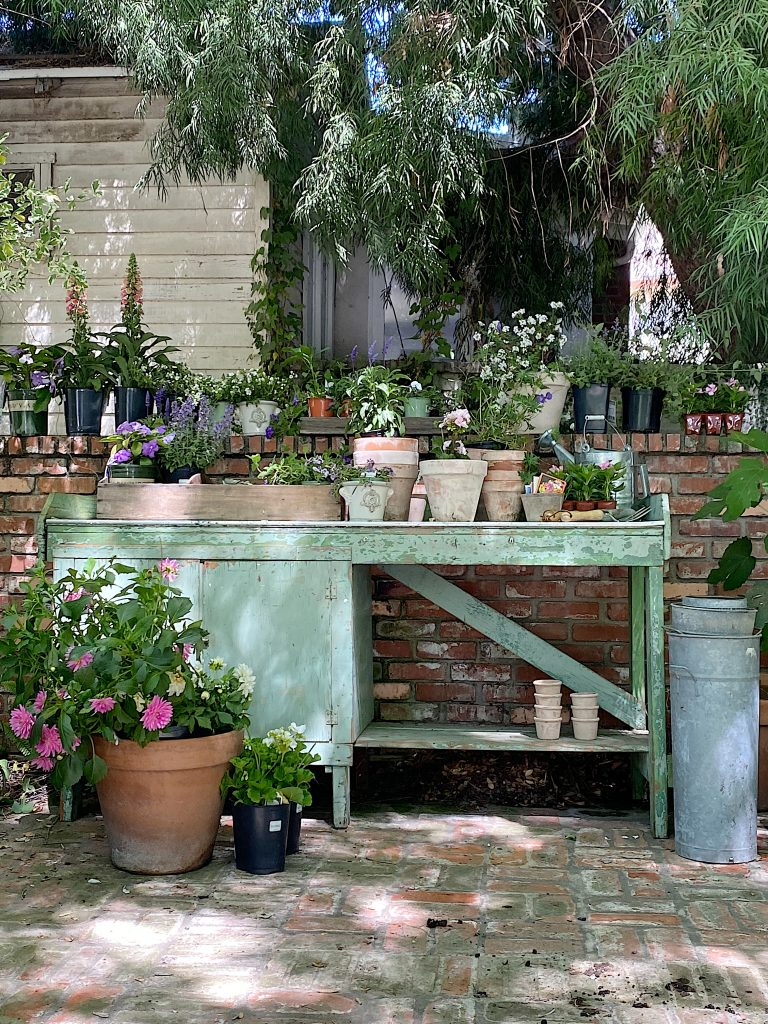 Potting Bench and Flowers