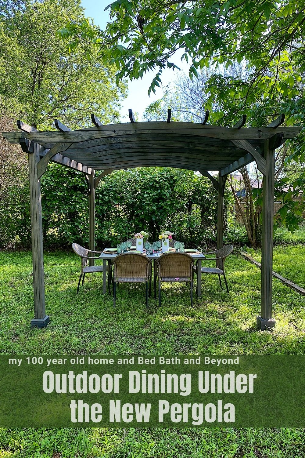 I am so happy to share our new Outdoor Dining area at our Waco Airbnb. I wanted to create an additional outdoor dining area and thanks to Bed Bath and Beyond, this area under the pergola is just incredible.