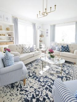 Thistlewood Living Room with blue Rug