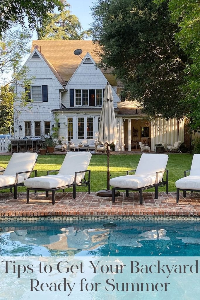June will be here tomorrow and summer is knocking at the door. Today I am sharing my five tips to help you get your backyard ready for summer and a pool party.