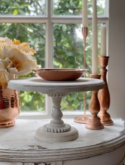 Wood Cake Stand with Copper