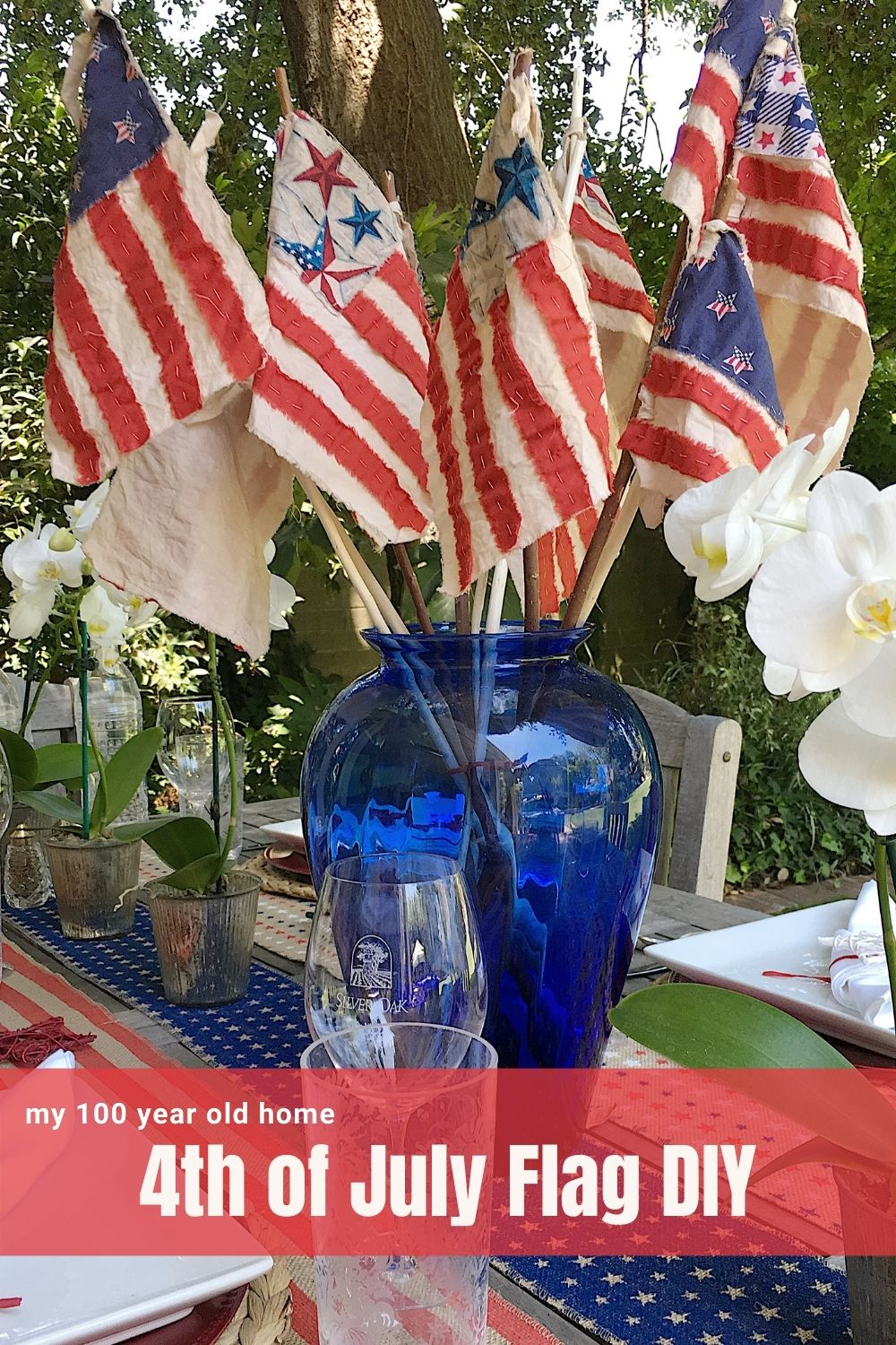 Fourth of July is in three weeks and I wanted to share the hand sewn 4th of July flag ideas I made for my table. These are a great DIY for the 4th of July and I thought you may love these flags.