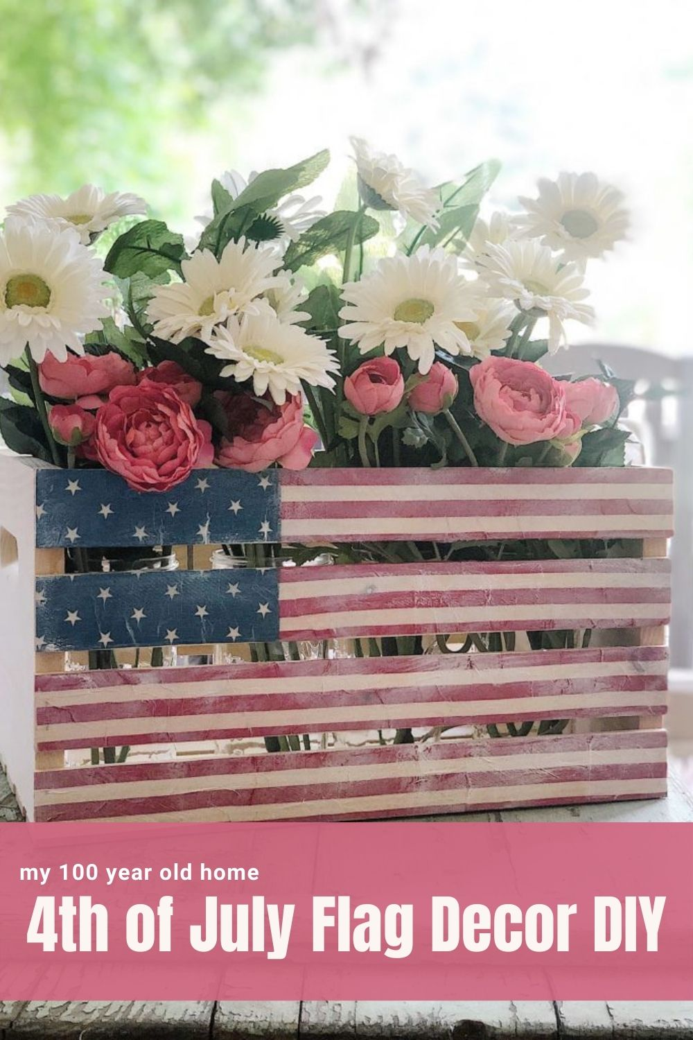 The Fourth of July is right around the corner but you still have time to make this wonderful the 4th of July flag wooden crate.
