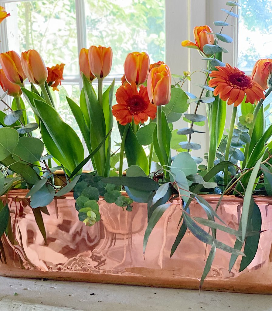 Adding the Tulips and Gerbers