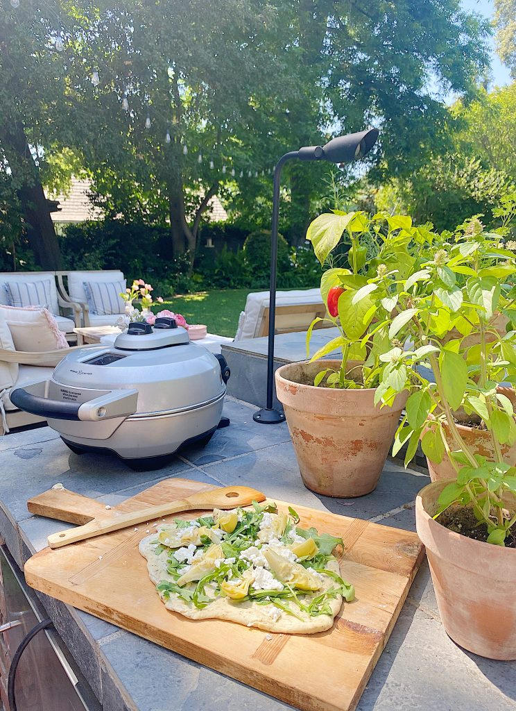 Arugula, Goat Cheese and Artichoke Pizza on the Porch and Patio
