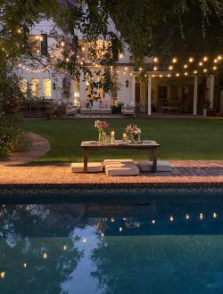 Dinner with Lights by the Pool
