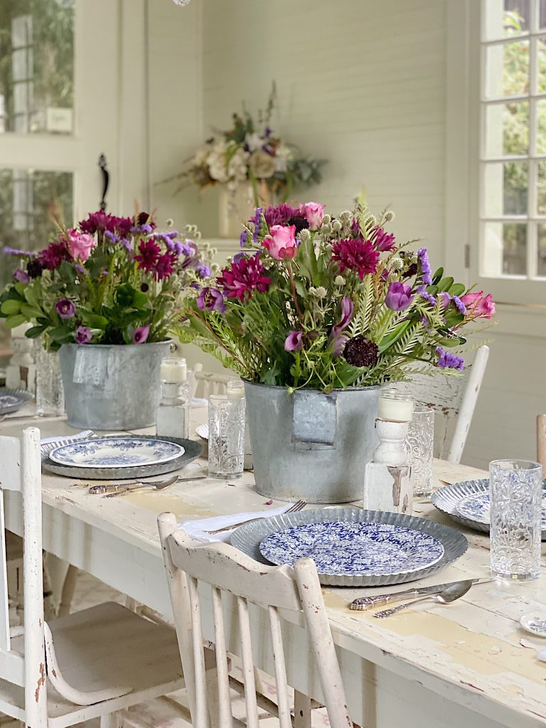 Farmhouse Dining Room Table in Blue
