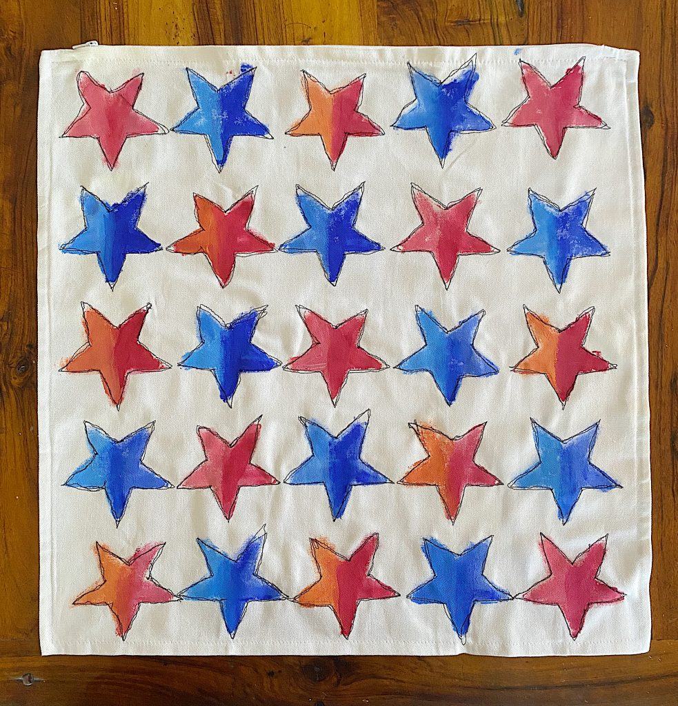 Finished Star Painted and Stitched Pillow
