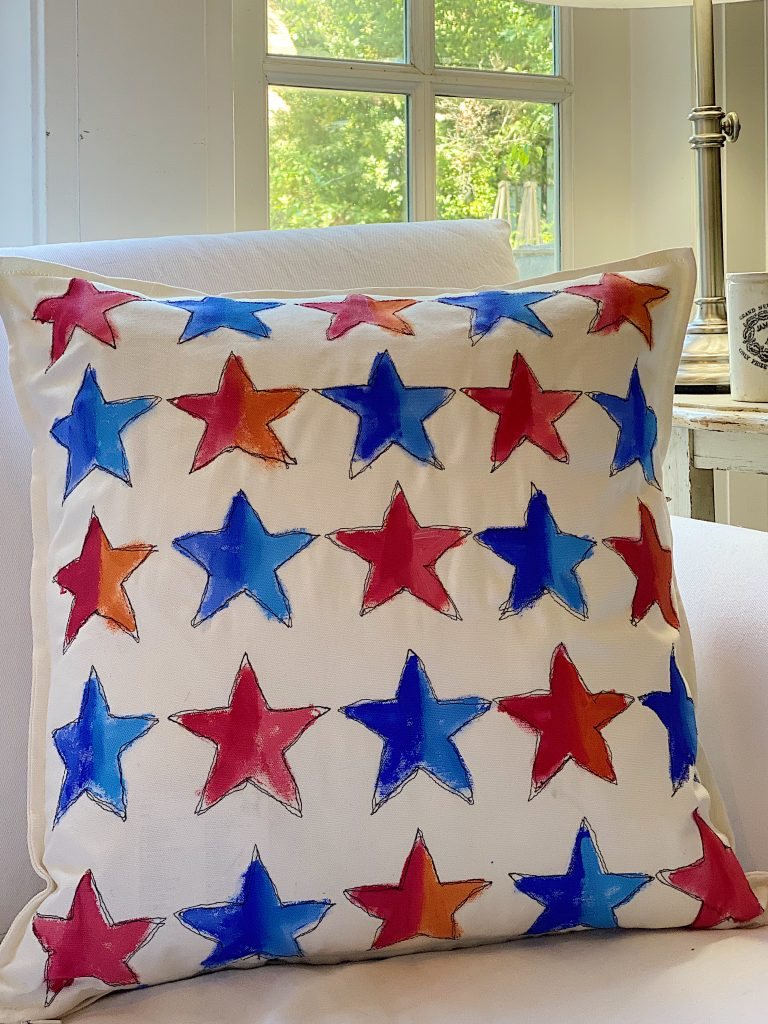 Free Motion Embroidery 4th of July Pillow