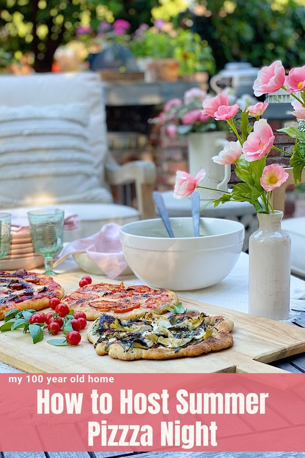 Tonight is the perfect evening for a summer pizza night on the back porch and patio. I found the perfect location for a fun dinner.