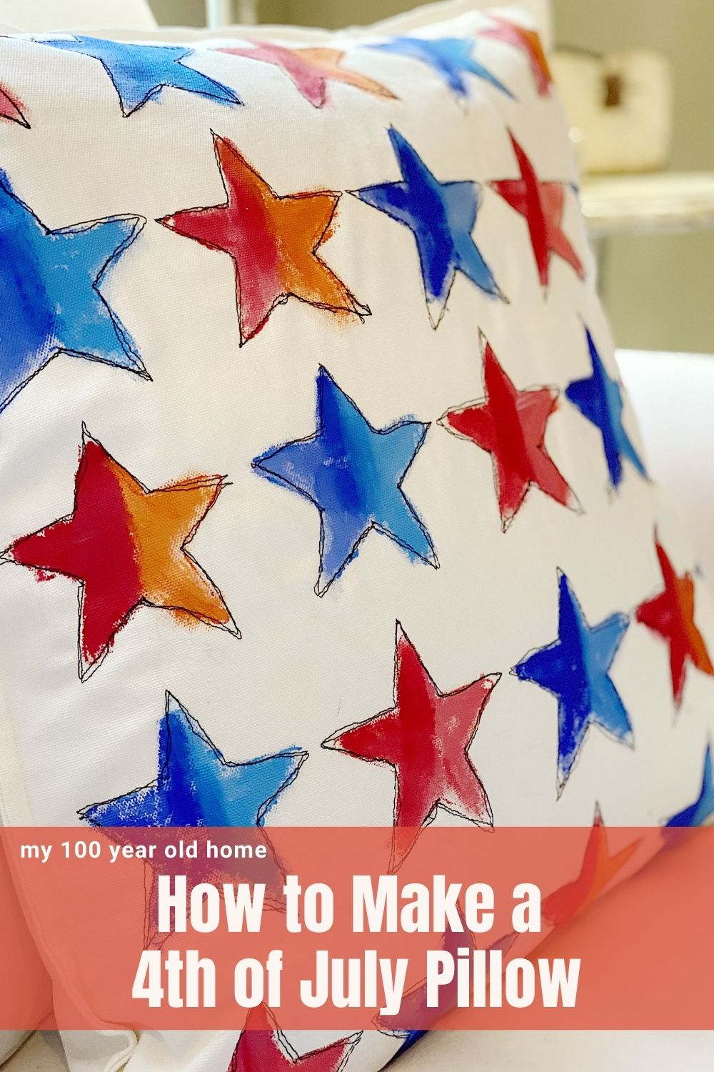I just love the 4th of July and the patriotic decorations I made. I made this pillow with a stars background. You can learn today how to make this!