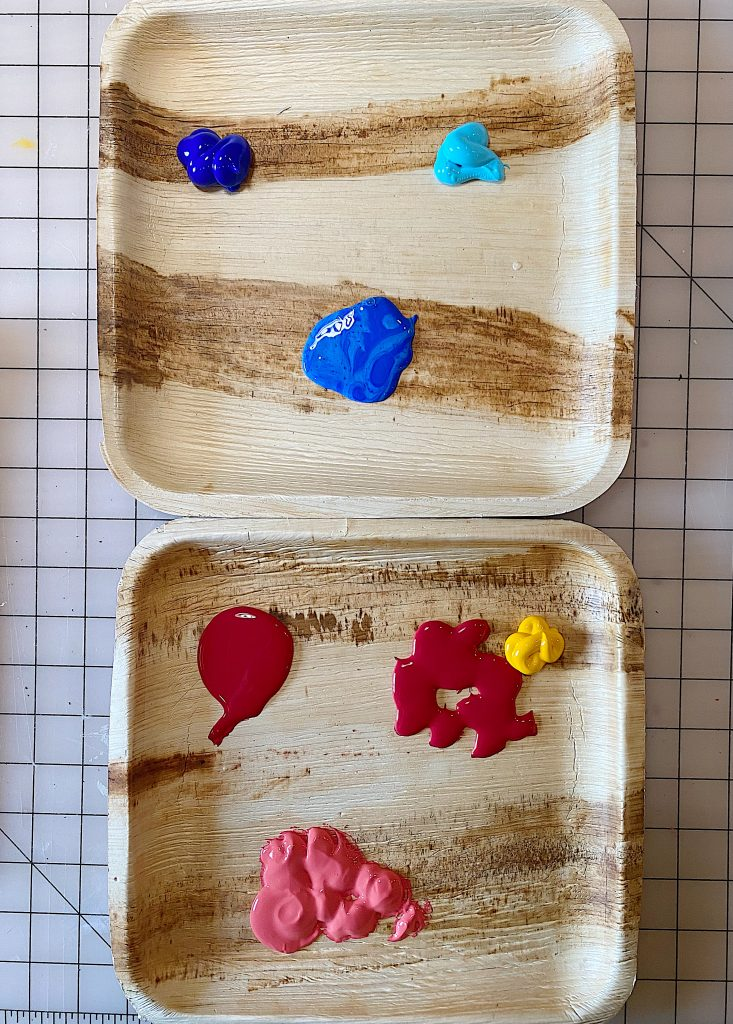 Mixing Paint for the 4th of July Craft