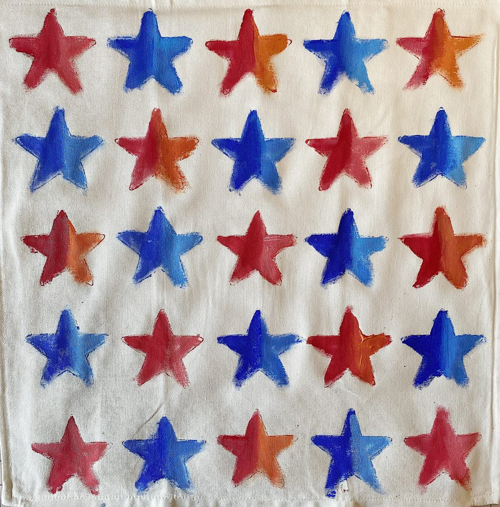 Painted Stars on a Pillow