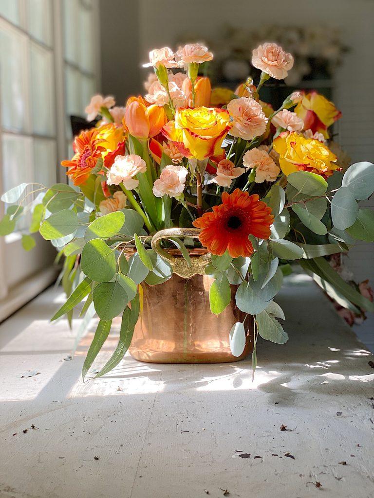 Summer Fun Flowers in the Copper Pot