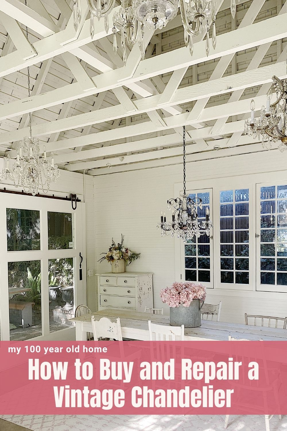 I found five vintage chandeliers for the Carriage House. Today I am sharing tips to buying and repairing a vintage chandelier.