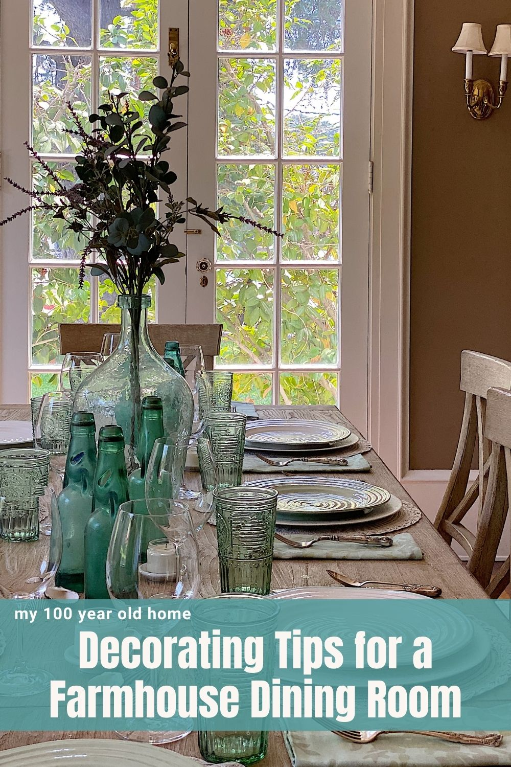 My summer home tour continues and today I am sharing Decorating Tips for a Modern Farmhouse Dining Room. The aqua green in here is stunning!