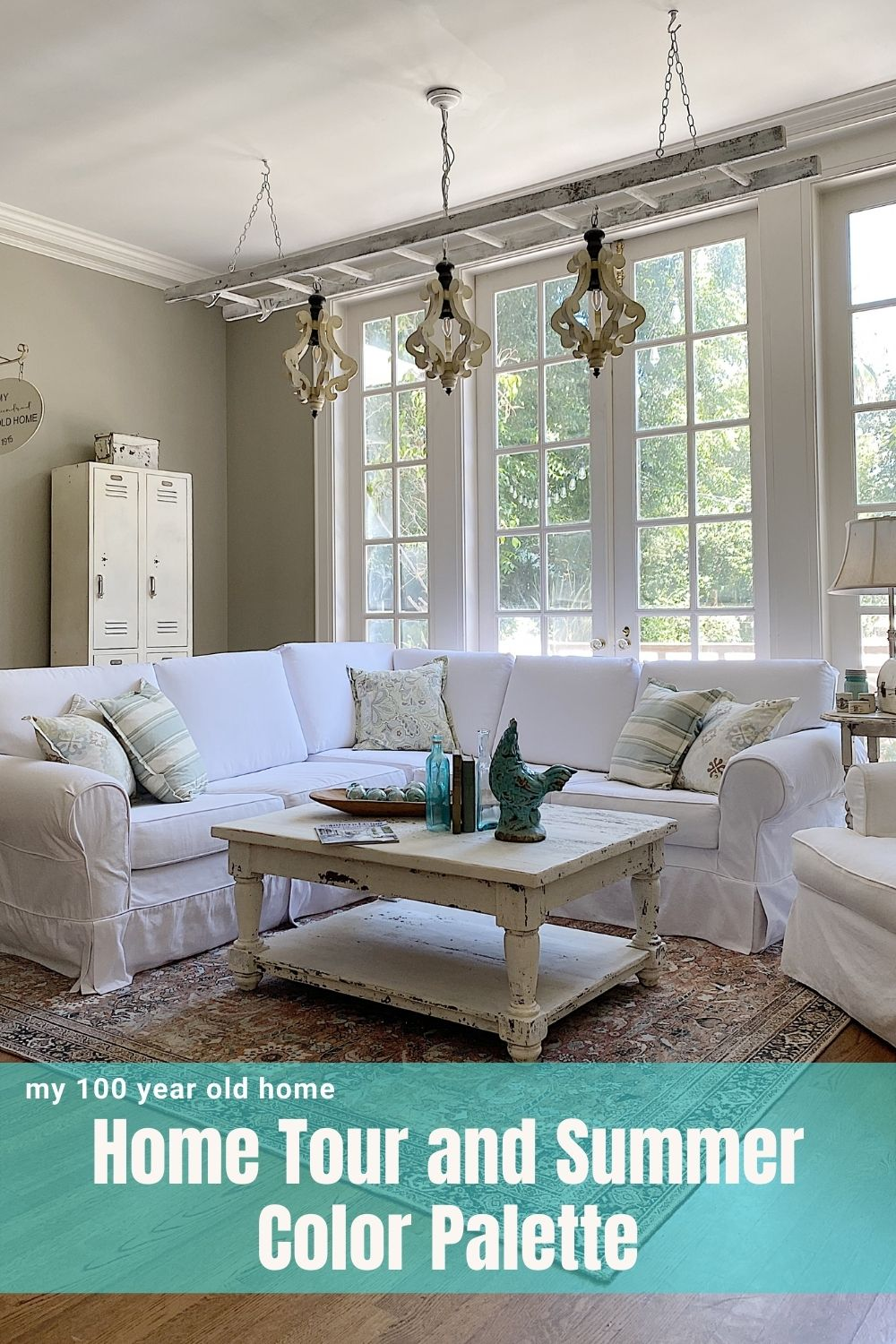 I finally decided on our summer color palette and chose aqua! I am sharing our family room today and I hope you will like it as much as I do.