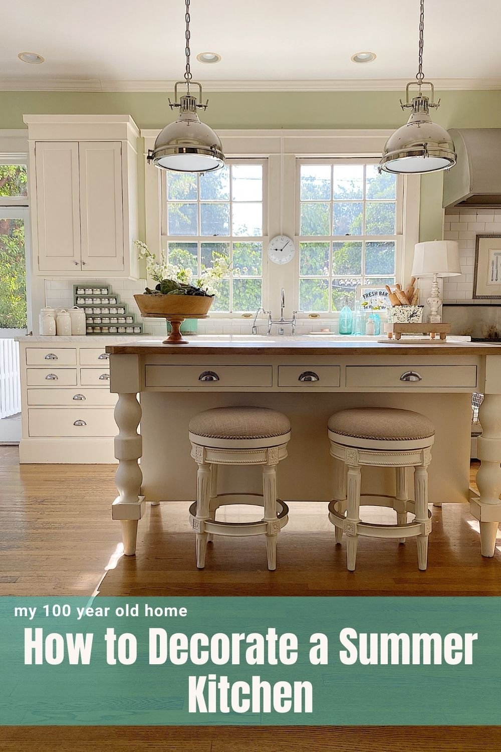 I love the new color palette in my summer kitchen. The new lights and barstools are amazing too. I feel like I now have a coastal farmhouse!