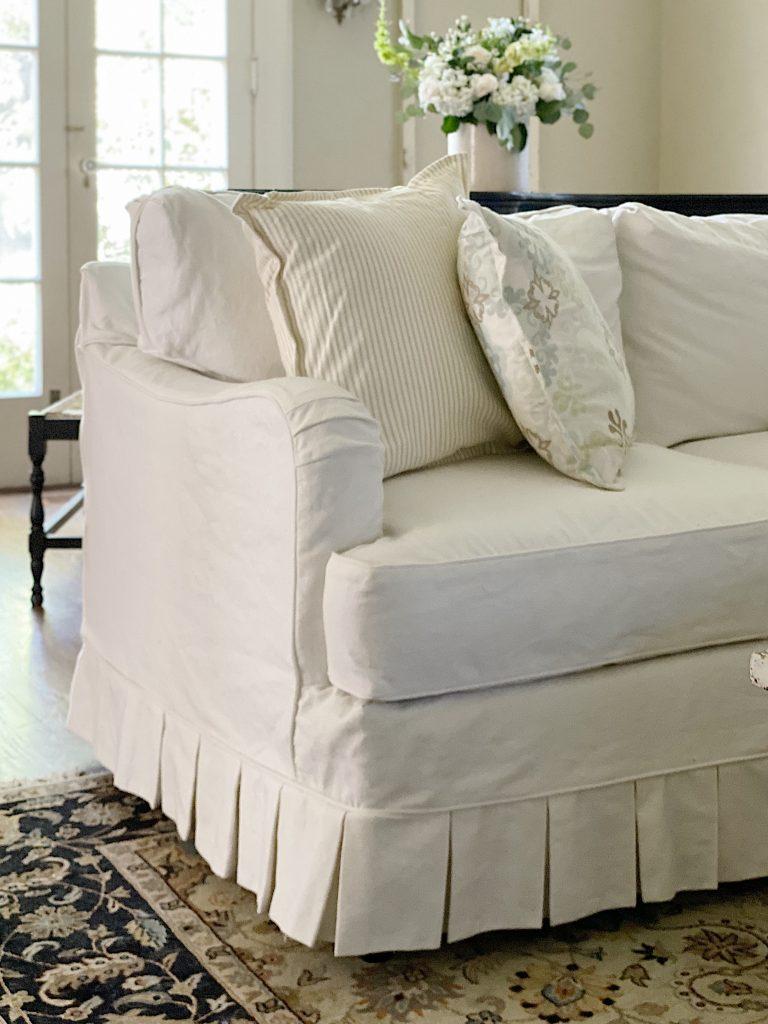 New Slipcovers Summer Farmhouse Living Room