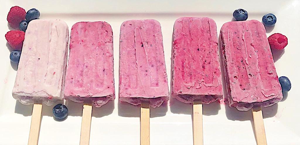 Rasp-Blueberry Coconut Popsicles