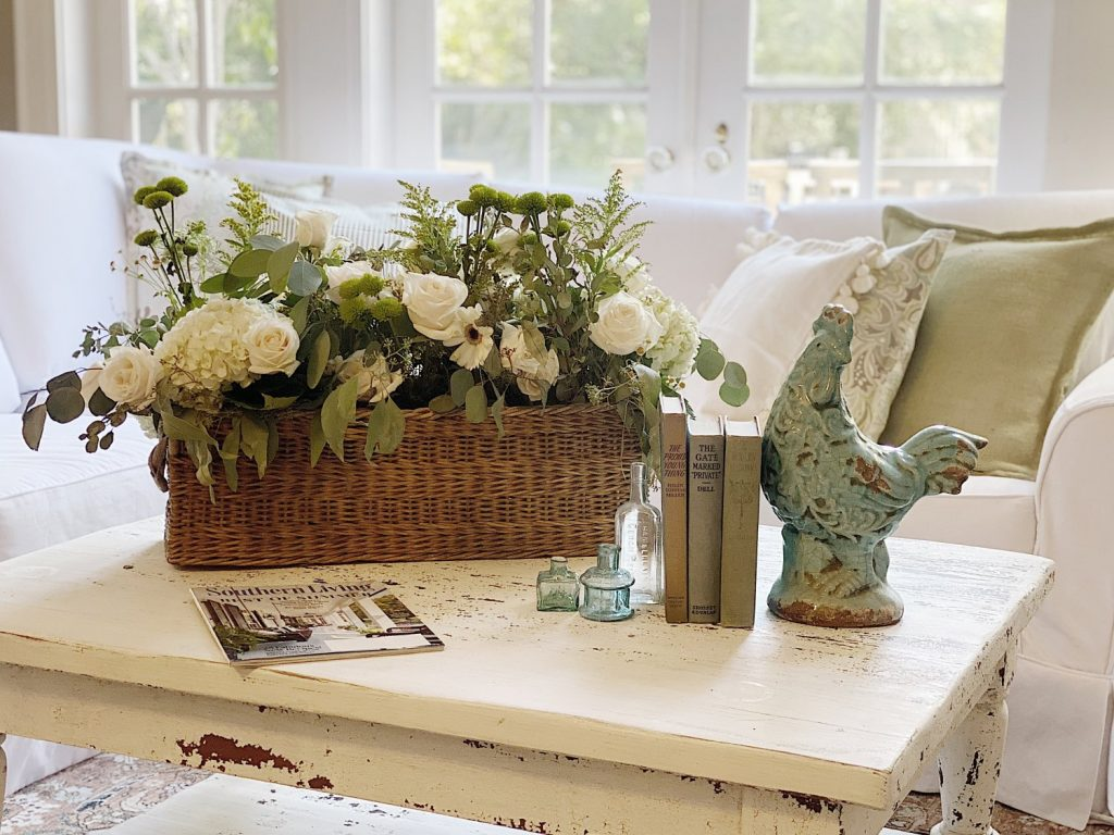 Repurposed Decor Basket with Flowers
