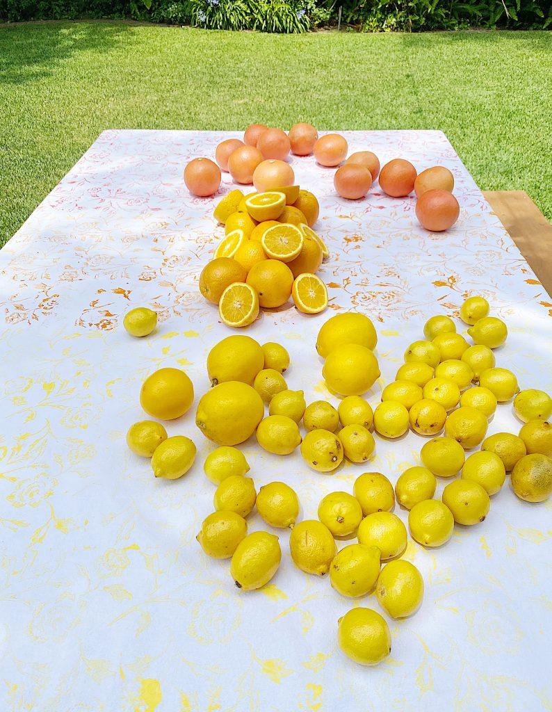 Summer Colors Tablecloth DIY with Citrus Fruits