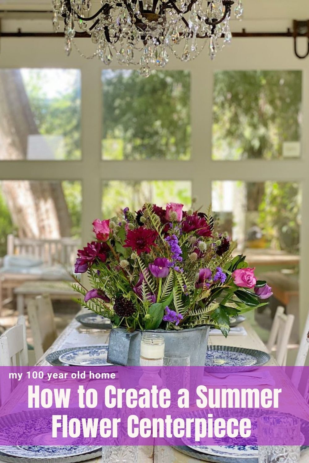 I love creating a summer flower centerpiece with grocery store flowers. They are inexpensive, very easy to make, and so colorful on your table!