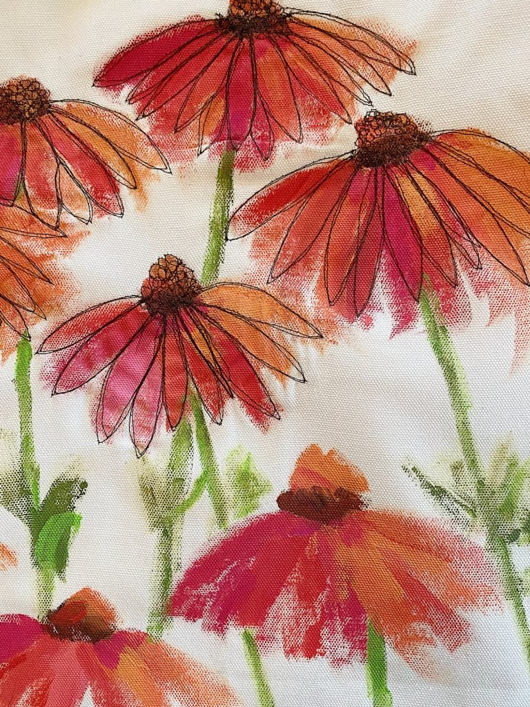 Summer Flower Pillow with Free Motion Stitch Embroidery