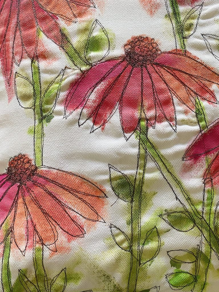 Summer Flower Pillow with Paint and Free Stitch Embroidery