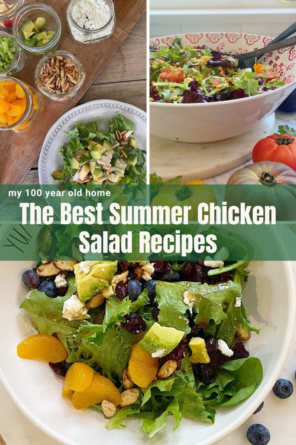 Summer salads are some of my favorite things to eat. Today I am sharing my three favorite salads and they are all summer chicken recipes.