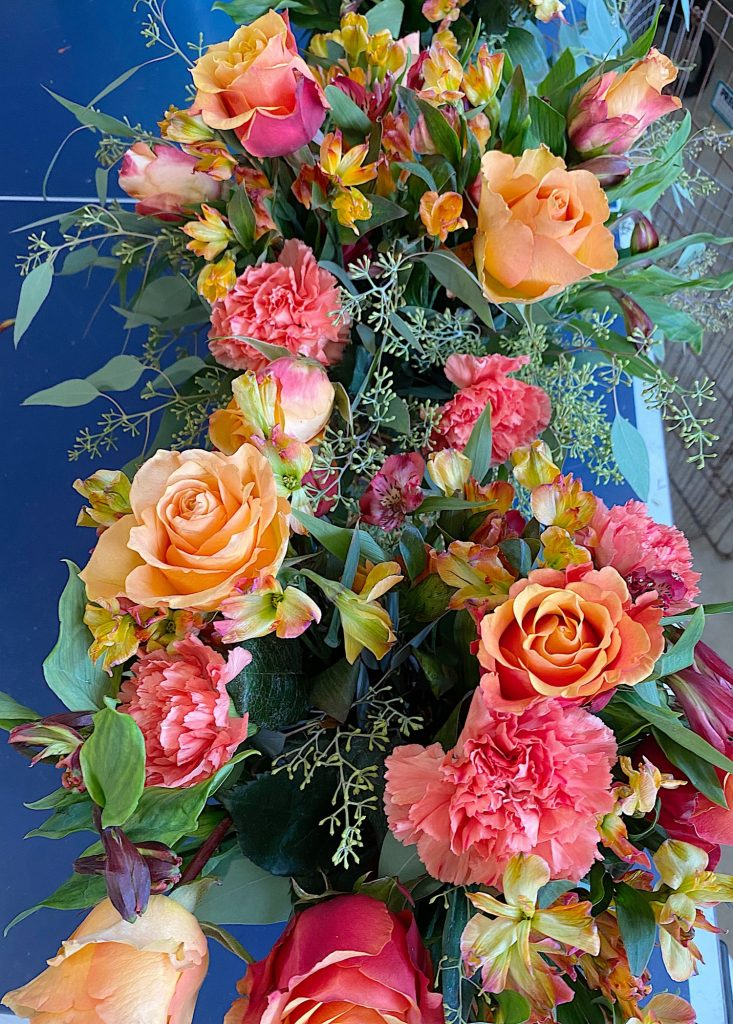 Arranged Flowers for the Summer Beach Dinner