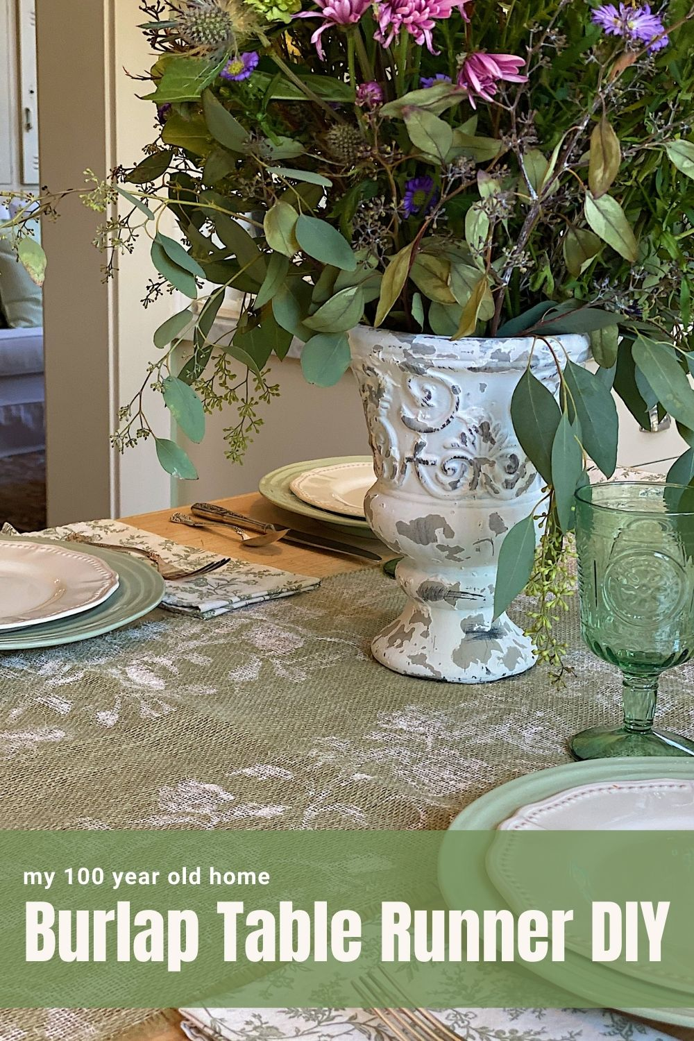 This easy DIY Burlap Table Runner can be made in less than an hour. I love this farmhouse burlap table runner style.