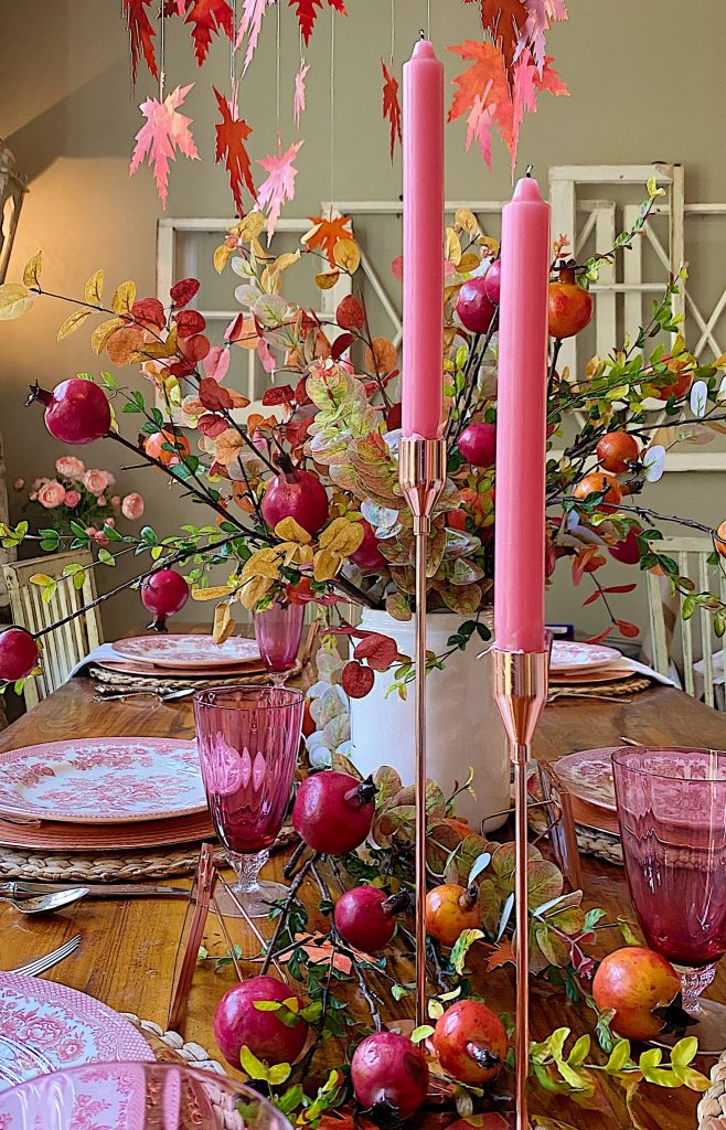 Cranberry Glass Fall Table