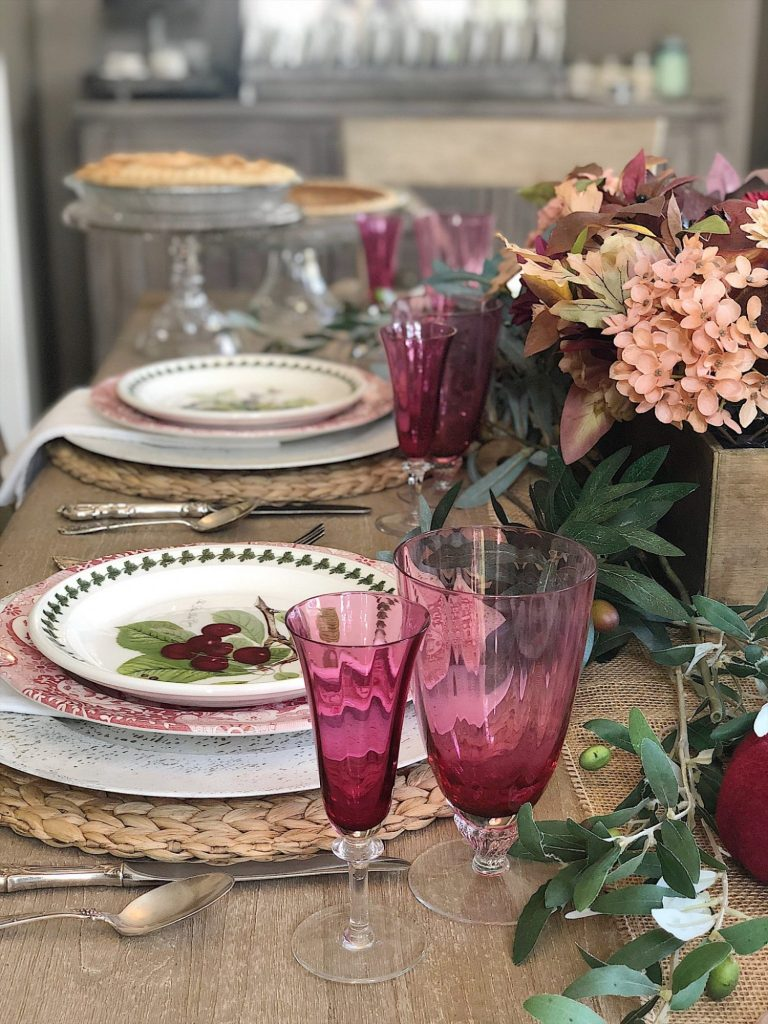 Cranberry Glass Table for Dessert