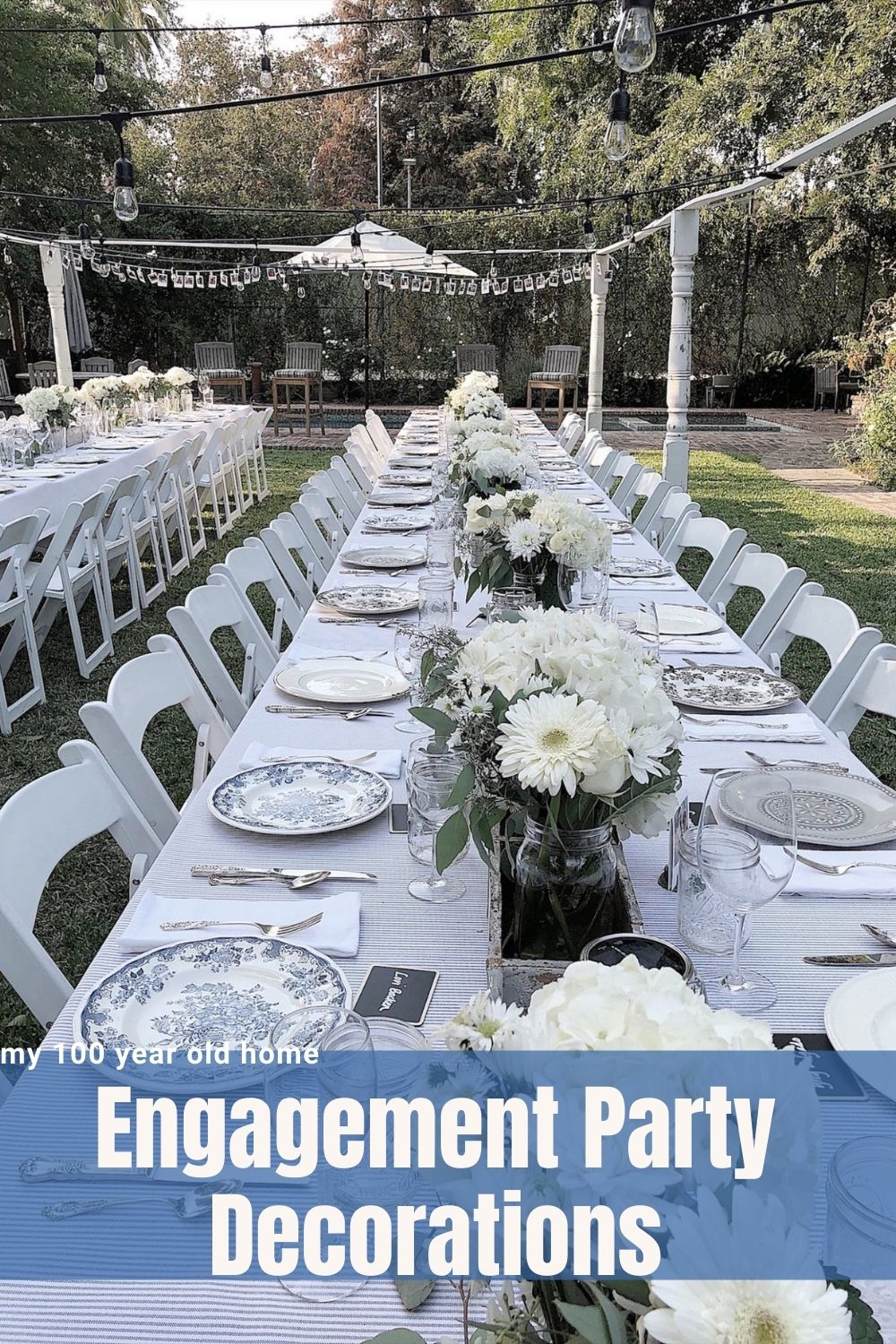 This is parts three and four of my story about creating a magical engagement party. Today I am going to share the engagement party decorations I added to my outdoor dining room.