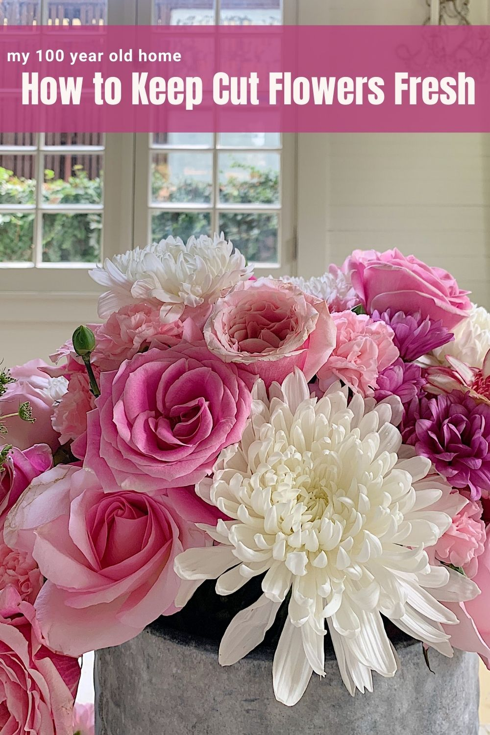 I love to make arrangements with affordable grocery store flowers and today I am sharing how to keep cut flowers fresh.